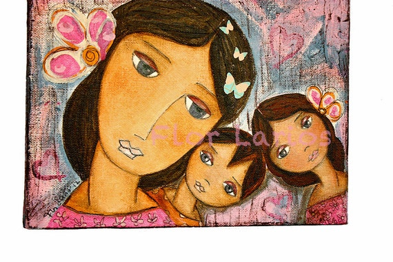 Motherhood - - Reproduction from Painting by FLOR LARIOS (5 x 7 Inches Print)