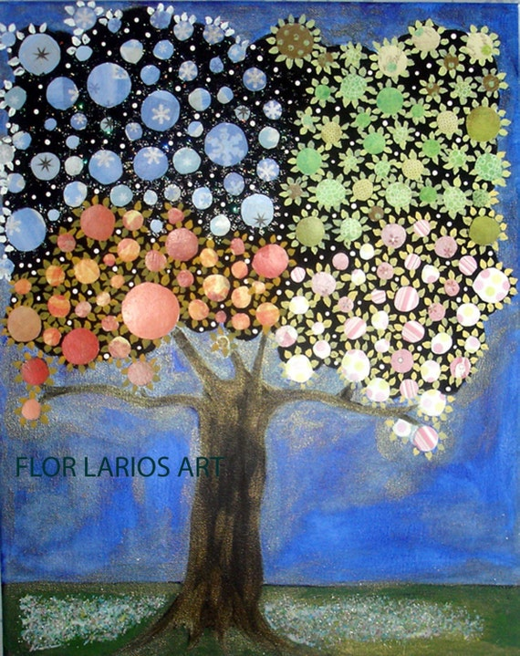 Four Seasons Tree - High Quality Print from Painting by FLOR LARIOS ( 6 x 7.5 Inches)