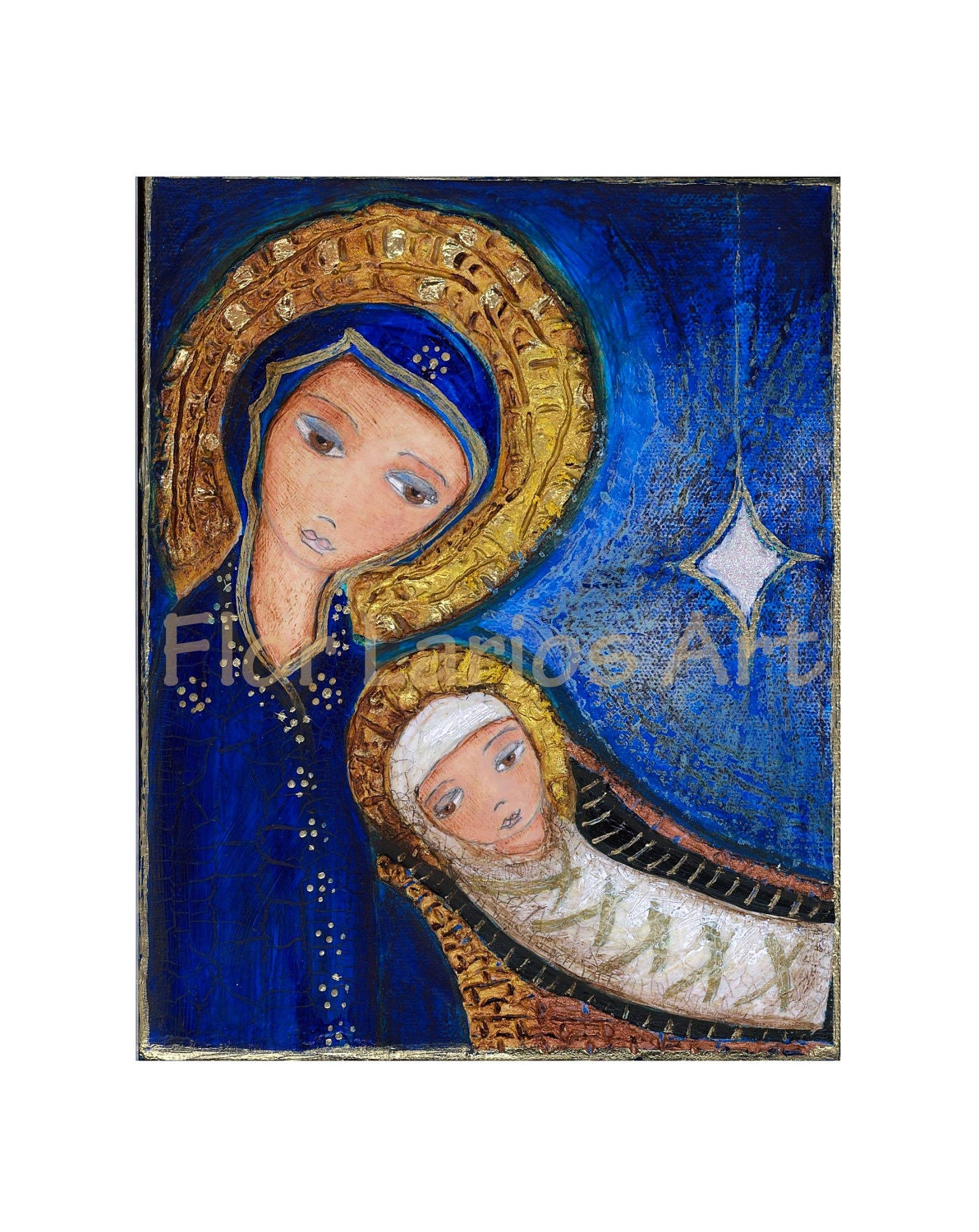 Nativity Mary With Baby Jesus Mixed Media Original Painting