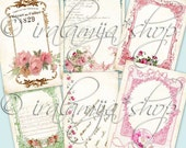 FRANCAISE TAGS Collage Digital Images -printable download file-