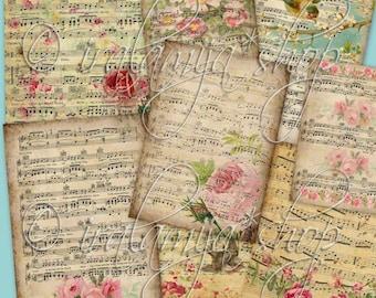 MUSIC NOTES collage Digital Images  -printable download file Digital Collage Sheet Vintage Paper Scrapbook