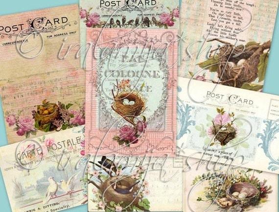 NESTS and POSTCARDS collage Digital Images  -printable download  file-