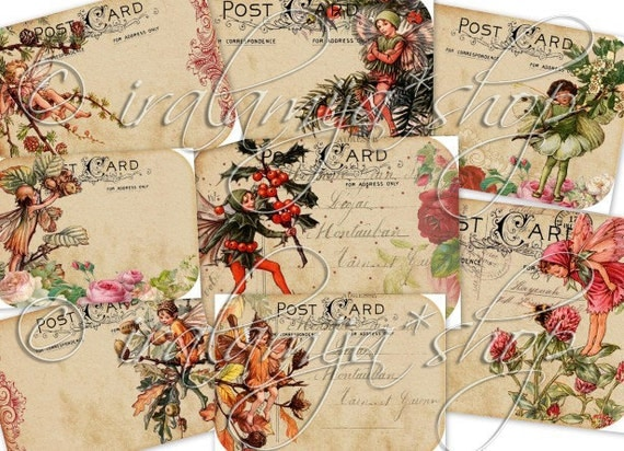 HOLIDAY FAIRIES Collage Digital Images -printable download file-