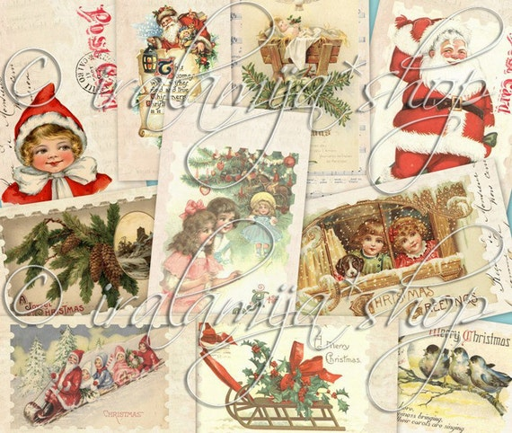 TINSEL TOWN TAgS collage Digital Images  -printable download file-