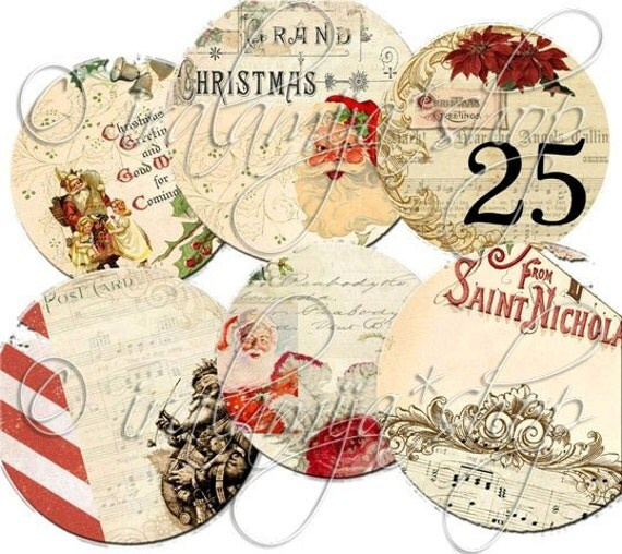 PEPPERMINT TAgS collage Digital Images  -printable download file-