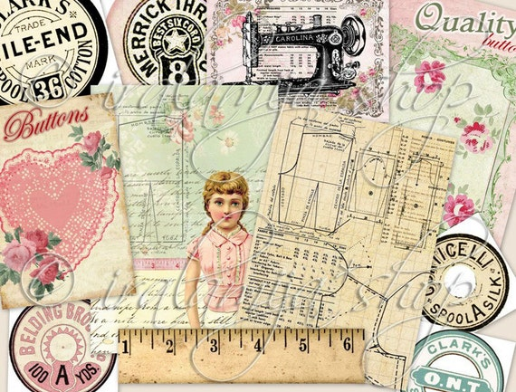 SEWING ROOM No.1 Collage Digital Images -printable download file-