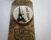 RESERVED for liviabruchi,  I love Paris, A Large handmade ceramic sew on button