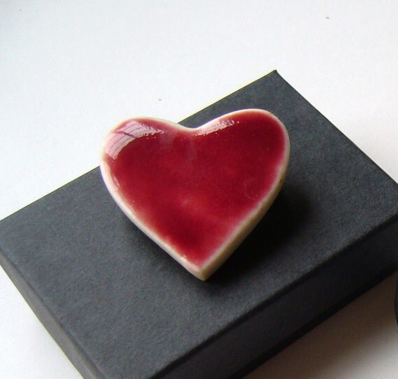 Loving heart, handmade porcelain brooch/pin