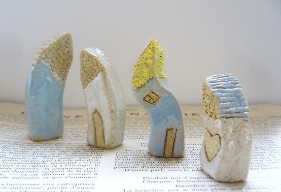 There was a crooked house, A set of 4 handmade ceramic cottages