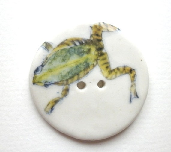 Jump to it, A Large Unique handmade ceramic sew on button