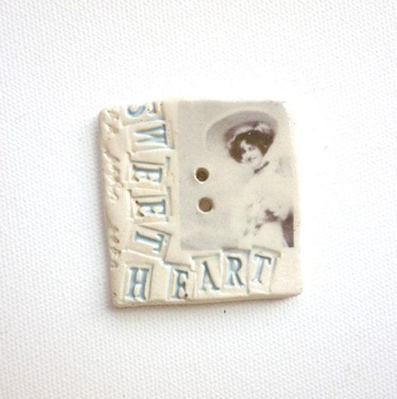 Sweet Heart of mine,  A handmade ceramic sew on button