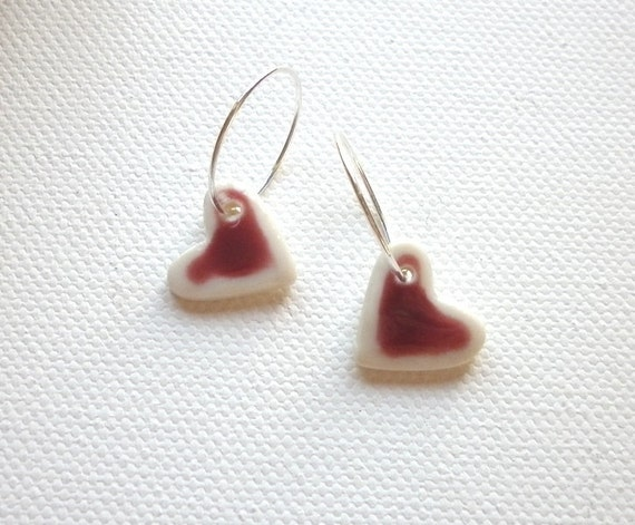 Love hearts, porcelain and sterling silver earrings
