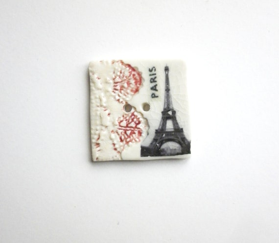 To be in Paris, A Large Unique handmade ceramic sew on button