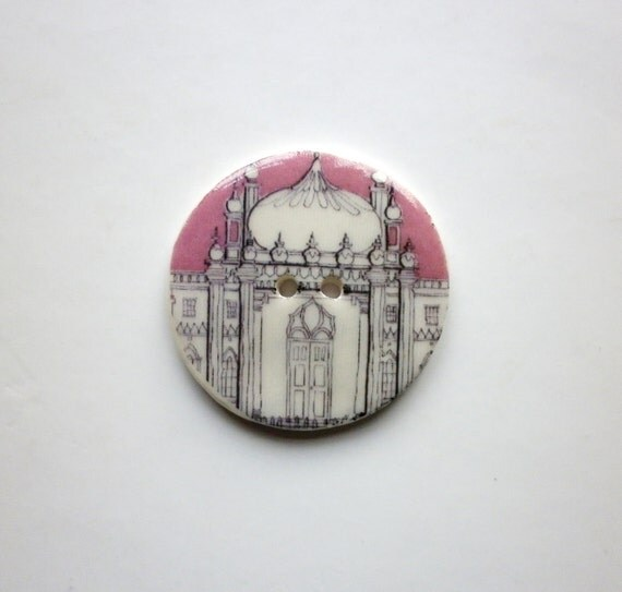 Memories of Brighton,  A Large handmade ceramic sew on button