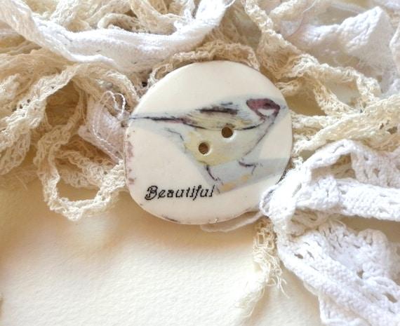Handmade Bird Design Porcelain Sew on Button