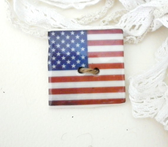 Large handmade porcelain USA sew on button