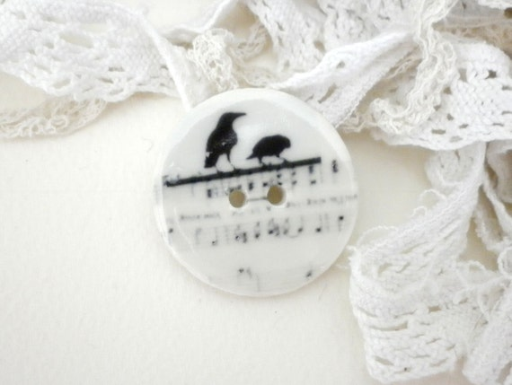 The meeting,  handmade porcelain Button
