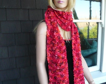 wool ribbon hand knitted scarf