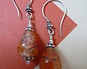 Bali Silver and Fire Agate Earrings  BHV