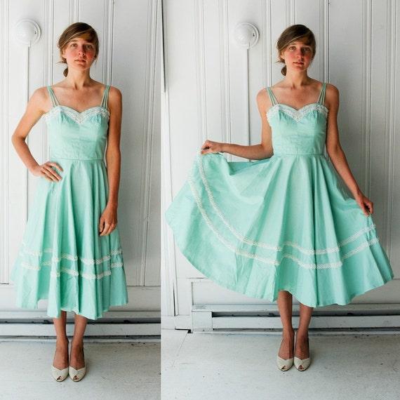 Gorgeous 1950s Cool Mint Party Dress S
