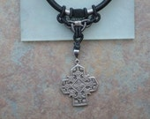 black chinese silk cord necklace w.pewter celtic style cross pendant