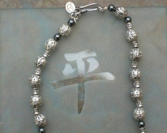 Ethnic Silver and Hematite Bead Necklace Boho Peace Hippie Tribal Chic