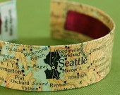 Map of Seattle Washington Area Cuff Bracelet - Ready to Ship