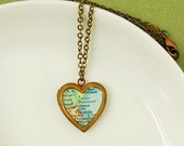 Map of Boston MA Heart Locket Necklace - Brass Chain - Ready to Ship