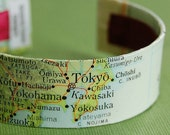 SALE Map Bracelet, Tokyo Japan Cuff - Ready to Ship - Gift under 30 - Traveler
