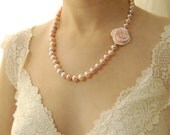 Pink Pearl Wedding Necklace, Pink Rose, Hand Knotted, Pearl Necklace, Large Freshwater Pearls, Peach, Flower, Floral