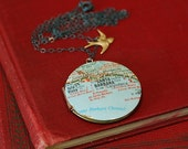 Santa Barbara California Map Necklace on Vintage Locket - Sterling Silver Chain - Ready to Ship