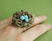 Bird Nest Ring Realistic Blue Robin's Eggs- Moss, Clay and Sterling Silver - Ready to Ship