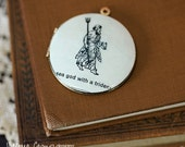 Sea God with Trident Necklace, Vintage Locket, Dictionary Art - Ready to Ship - Gift under 40