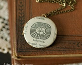 Labyrinth Locket Necklace, Vintage Dictionary Illustration - Brass Chain - Ready to Ship