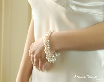 Wedding Jewelry, White Pearl Bauble Bracelet, Freshwater Pearls, Bridal Jewelry, Cluster, For Her, Sterling Silver, Ivory, White