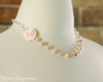Pink Pearl Wedding Necklace with Flower, Asymmetrical Peachy Pink Rose, Freshwater Pearls, Vintage Glass, Wedding, Sterling Silver