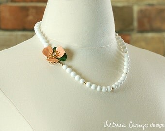 Vintage Flower Wedding Necklace, Peach and Green Enamel Flower with Vintage White Milk Glass and Gold Beads, Summer Bridal Jewelry