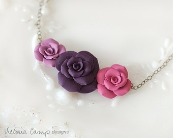 Handformed Clay Rose Necklace, Purple, Magenta, Lilac, Oxidized Sterling Silver, Roses Trio, Floral Flowers - Ready to Ship