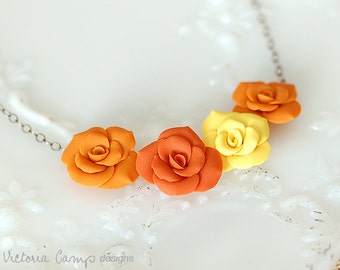 Orange and Yellow Clay Roses Necklace - Oxidized Sterling Silver - Floral Flower Jewelry - Ready to Ship