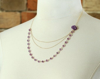 Purple Rose Layered Necklace with Purple Amethyst Gemstone, Gold Chain - OOAK One of a Kind - Ready to Ship