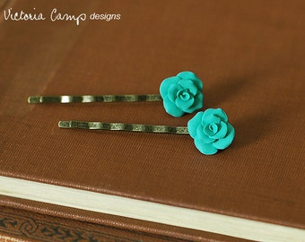 Aqua Clay Rose Hair Pins - Set of Two - Ready to Ship, Gifts under 25