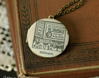 Be Yourself Billboard Locket Necklace, Vintage Dictionary Illustration - Brass Chain - Ready to Ship