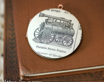 Steam Engine Vintage Locket Necklace, Dictionary Illustration, Brass Chain, Large Locket - Gift under 40