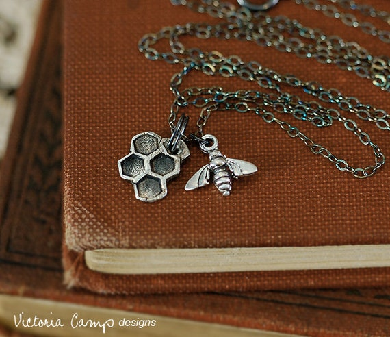 Fine Silver Honeycomb Necklace with Tiny Bee, Sterling Silver Chain - Ready to Ship