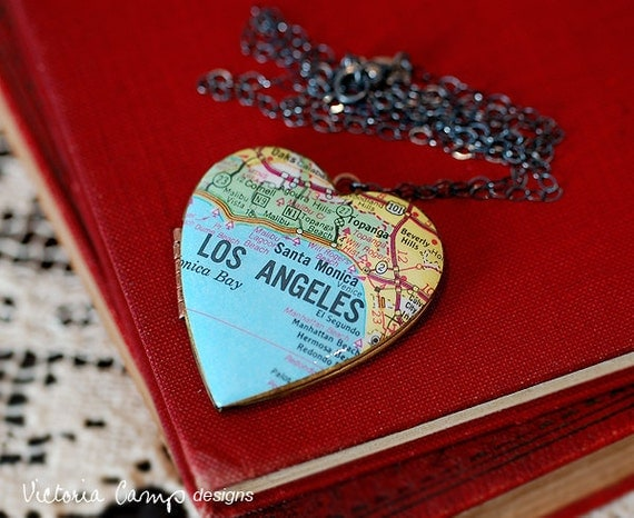 Los Angeles Map Locket Necklace - Large Vintage Heart Locket - Sterling Silver Chain - Ready to Ship