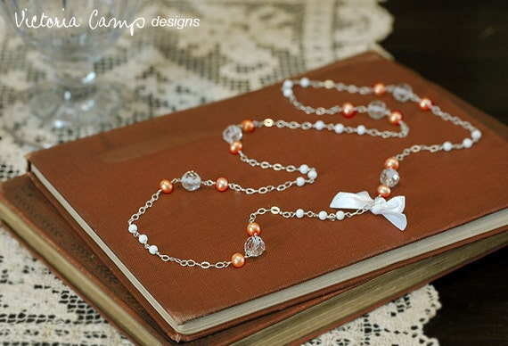 SALE Long Orange Pearl Beaded Necklace, Small White Bow, Vintage Glass Beads, Sterling Silver Chain, Tangerine, Freshwater Pearl