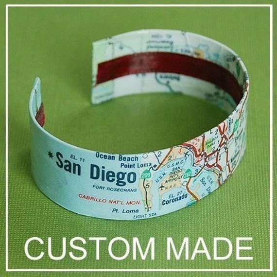 Custom Map Cuff Bracelet  - Choose Your City, Personalized Map Jewelry - Made to Order - Gift Under 30
