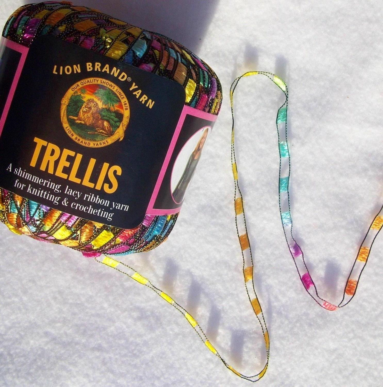 3 lion brand trellis ribbon yarn pastel garden skeins