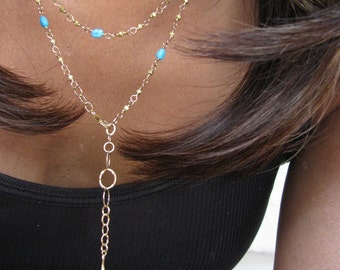 Gold Pyrite and Turquoise Long Wrap Necklace