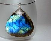 Labradorite teardrop pendant - ''Inside every cloud''